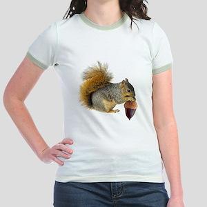 Squirrel Eating Acorn Jr. Ringer T-Shirt