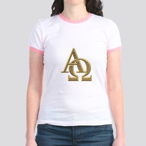 """""""3-D"""" Golden Alpha and Omega Symbol Jr. Ringer T-S"""