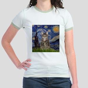 Starry Night & Tiger Cat Jr. Ringer T-Shirt
