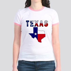 Flag Map With Texas Jr. Ringer T-Shirt
