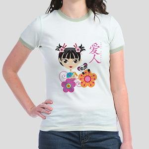 Chinese Girl with Panda Jr. Ringer T-Shirt
