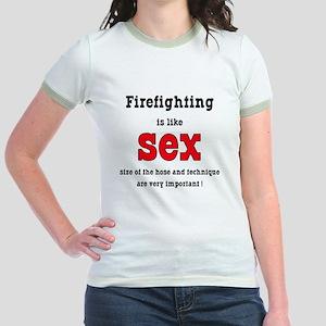 Firefighting Is Like Sex Jr. Ringer T-Shirt