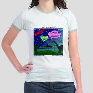 Dinosaurs and Asteroid Cartoon Jr. Ringer T-Shirt