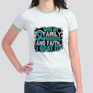 Ovarian Cancer Survivor FamilyF Jr. Ringer T-Shirt