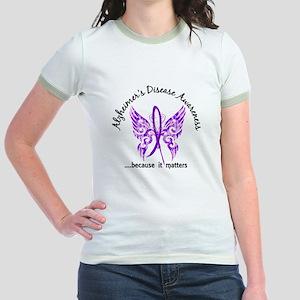 Alzheimer's Disease Butterfly 6 Jr. Ringer T-Shirt