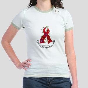 Flower Ribbon HIV AIDS Jr. Ringer T-Shirt