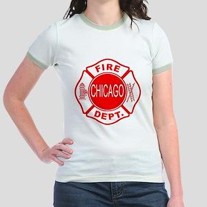 2-cfd maltese outline filled in Jr. Ringer T-Shirt