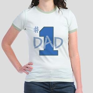 # 1 Dad blue gray Jr. Ringer T-Shirt