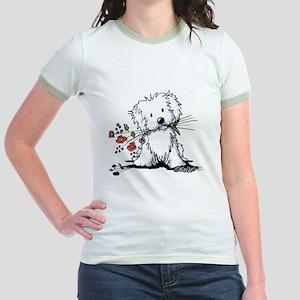 KiniArt Maltese Garden Helper Jr. Ringer T-Shirt