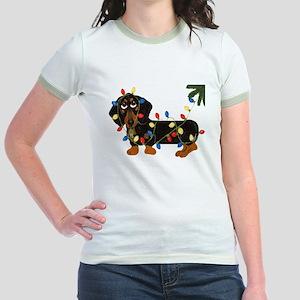 Dachshund (Blk/Tan)... Jr. Ringer T-Shirt