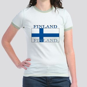 Finland Finish Flag Jr. Ringer T-Shirt