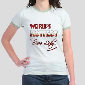 World's Hottest Boss Lady Jr. Ringer T-Shirt