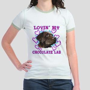 lovin_choc lab_dark Jr. Ringer T-Shirt