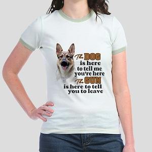 Beware of Dog/Gun (German Sheph Jr. Ringer T-Shirt
