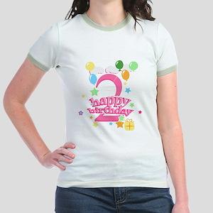 2nd Birthday with Balloons - Pi Jr. Ringer T-Shirt