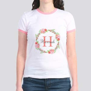 Watercolor Floral Wreath Monogram T-Shirt