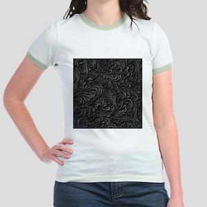 Black Flourish Jr. Ringer T-Shirt