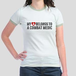 My Heart Belongs To Combat Medic Jr. Ringer T-Shir