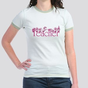Teacher-pnk Jr. Ringer T-Shirt