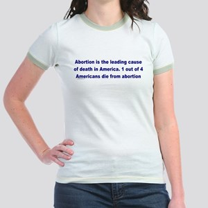 Abortion Leading Cause of Death Jr. Ringer T-Shirt
