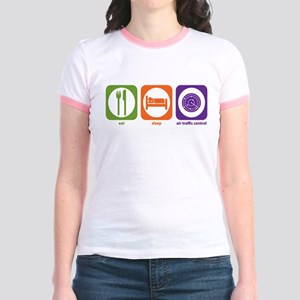 Eat Sleep Air Traffic Jr. Ringer T-Shirt