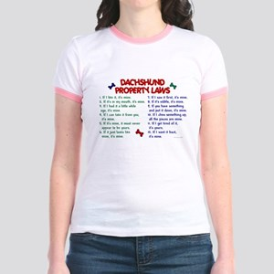Dachshund Property Laws 2 Jr. Ringer T-Shirt