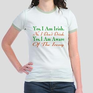 Ironic Sober Irish Jr. Ringer T-Shirt