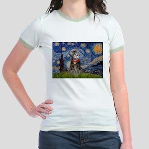 Starry Night / Tiger Cat Jr. Ringer T-Shirt