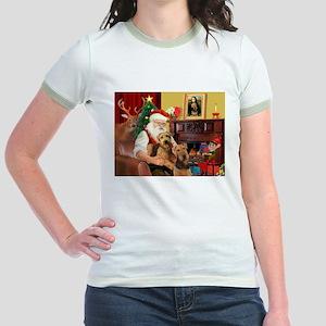 Santa's Two Airedales Jr. Ringer T-Shirt