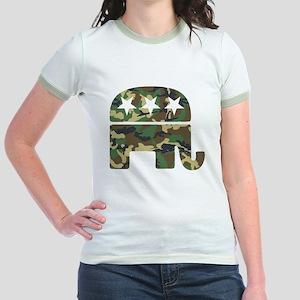 Republican Camo Elephant Jr. Ringer T-Shirt