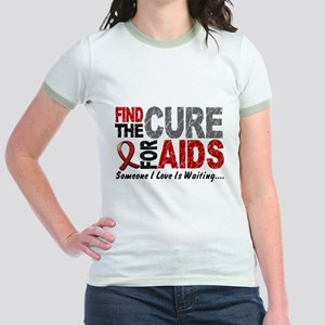 Find The Cure 1 HIV AIDS Jr. Ringer T-Shirt