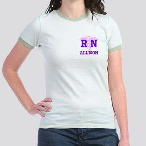 Pink and Purple personalized RN Jr. Ringer T-Shirt