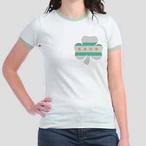 Irish Chicago flag shamrock Jr. Ringer T-Shirt