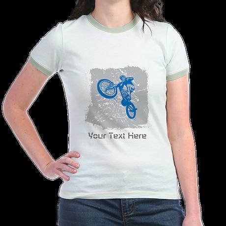 Stunt Bike Rider with Custom Text. Jr. Ringer T-Sh