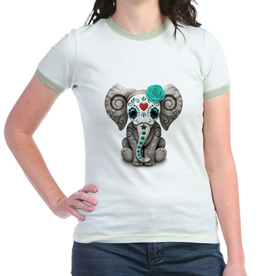 Teal Blue Day of the Dead Sugar Skull Baby Elephan