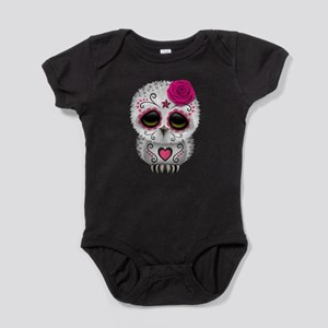 Pink Day of the Dead Sugar Skull Owl Baby Bodysuit