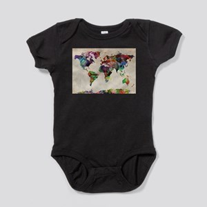 World Map Urban Watercolor 14x10 Body Suit