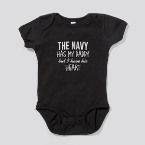 Navy Daddy's Heart Baby Bodysuit