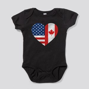 Canadian American Flag Love Baby Bodysuit