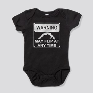 Warning may Flip gymnastics Baby Bodysuit