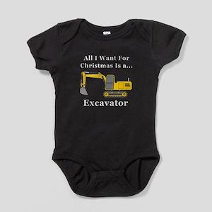 Christmas Excavator Baby Bodysuit