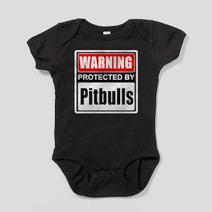 Warning Pitbulls Baby Bodysuit