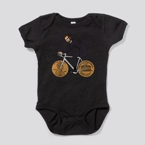 Abraham Lincoln On A Bike With Penny Baby Bodysuit