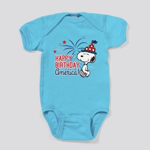 Snoopy - Happy B-Day America Baby Bodysuit