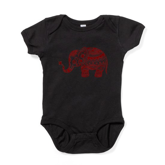 Cute Floral Elephant In Burgundy Red