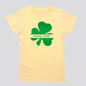Custom Name Shamrock Girl's Tee