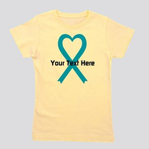 Personalized Teal Ribbon Heart Girl's Tee