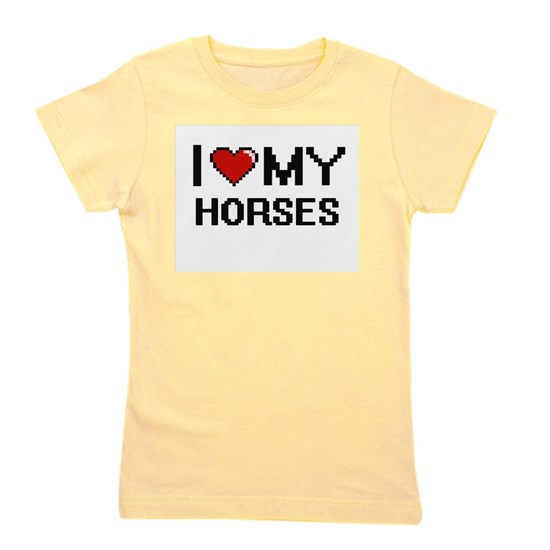 I Love My Horses Digital Retro Design