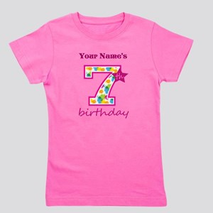 7th Birthday Splat - Personalized Girl's Tee