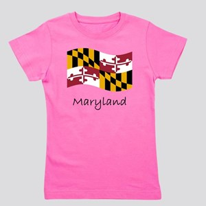 Waving Maryland Flag Girl's Tee
